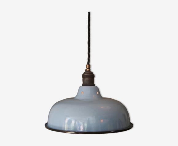 Abat jour emaillé lampe industrielle bleu ciel
