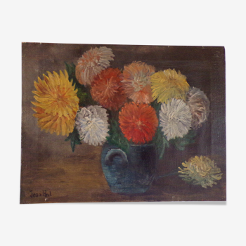 Huile sur toile nature morte au bouquet de fleurs