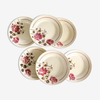Set de 6 assiettes plates Badonviller Simone vintage français, authentique, rare, campagne