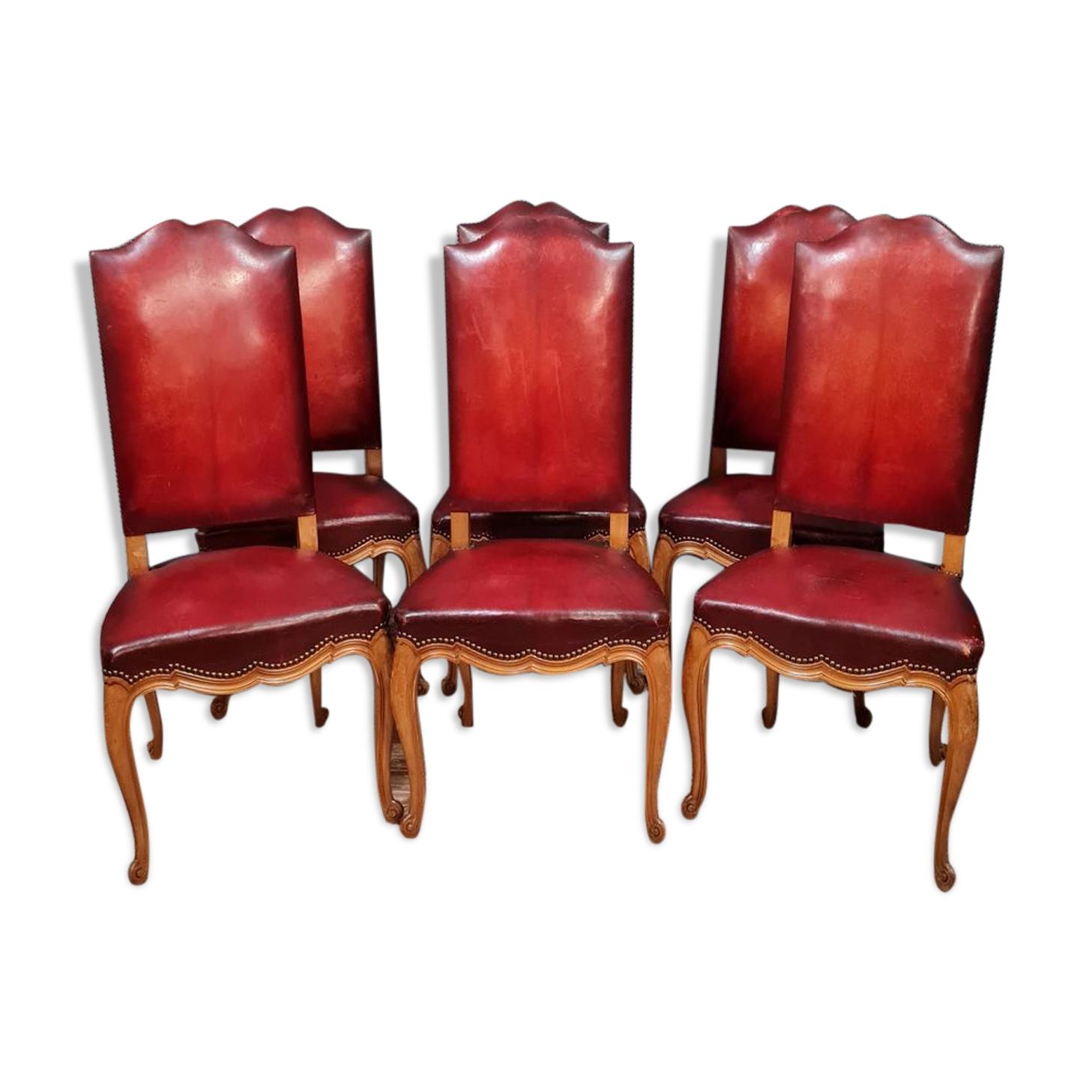 Série de 6 chaises louis xv néo-rustique en chêne blond