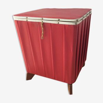 Pouf avec rangement vintage des années 50-60 en Skaï  Rouge