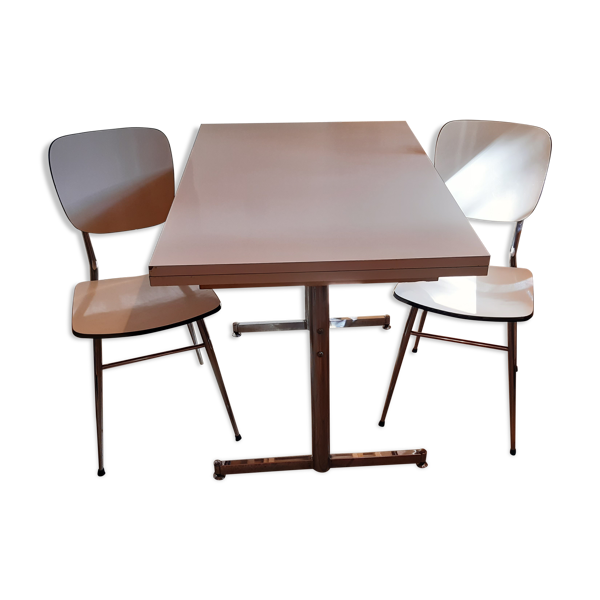Table de cuisine et 2 chaises en formica