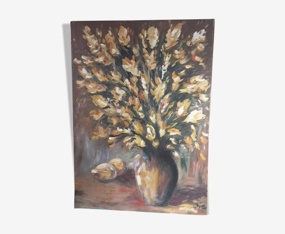Tableau vintage huile sur toile signée