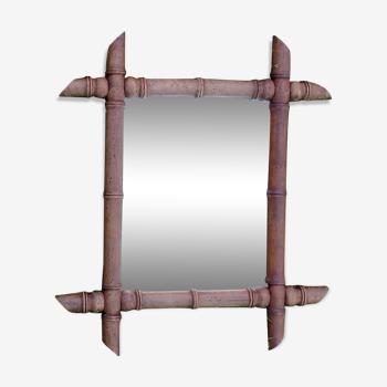 Miroir ancien en bois style bambou