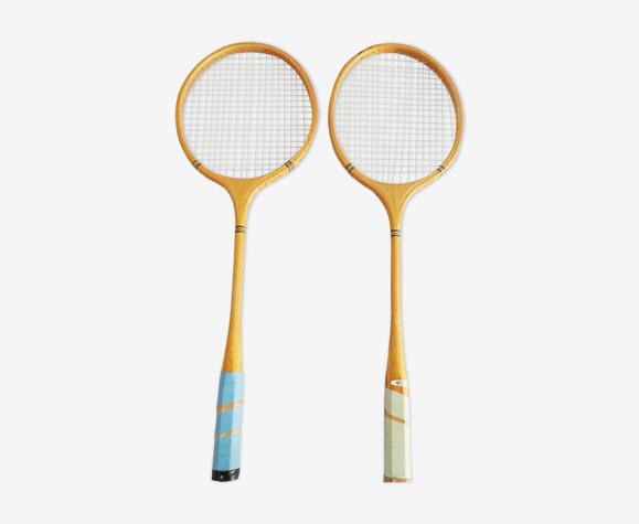Ensemble de deux vieux duo de raquettes de badminton en bois MWK