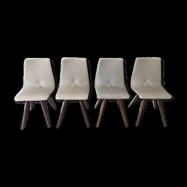 Ensemble de 4 chaises blanche et grise  années 1950