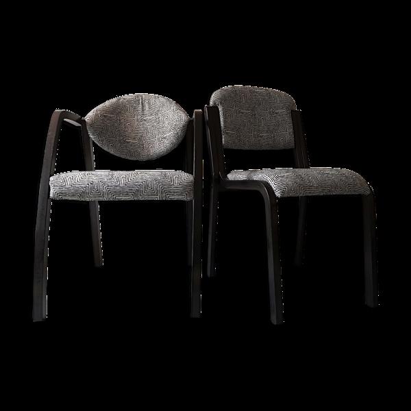 Lot de 2 chaises tissu graphique 1970