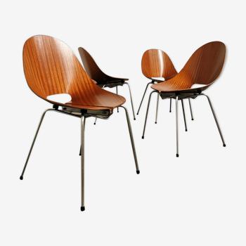 Set de 4 chaises Società Compensati Curvati 1960
