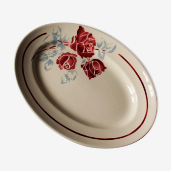 Plat ovale art deco fleurs rouge bleu Pondy Badonviller