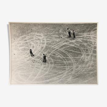 Photographie noir et blanc argentique neige
