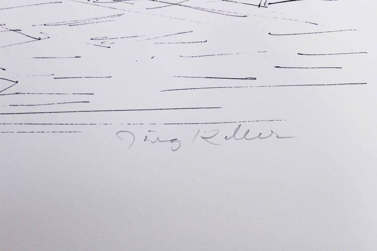 Lithographie de Jurg Keller intitulée Jardin Sud