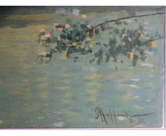 Tableau Attilio Guffanti bords d'étang huile sur carton