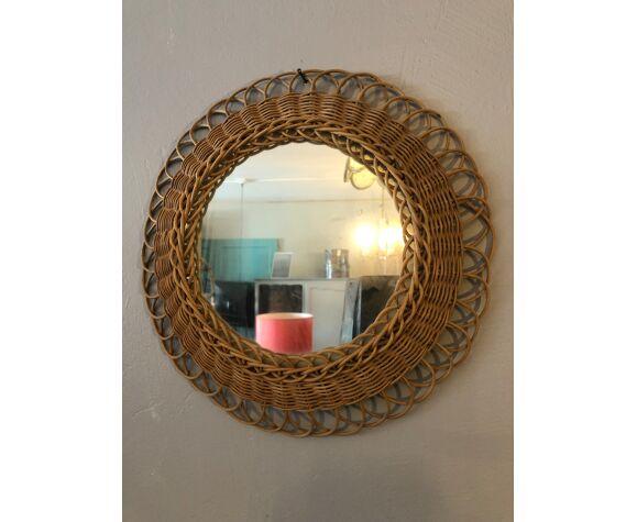 Miroir soleil en osier diamètre 31 cm