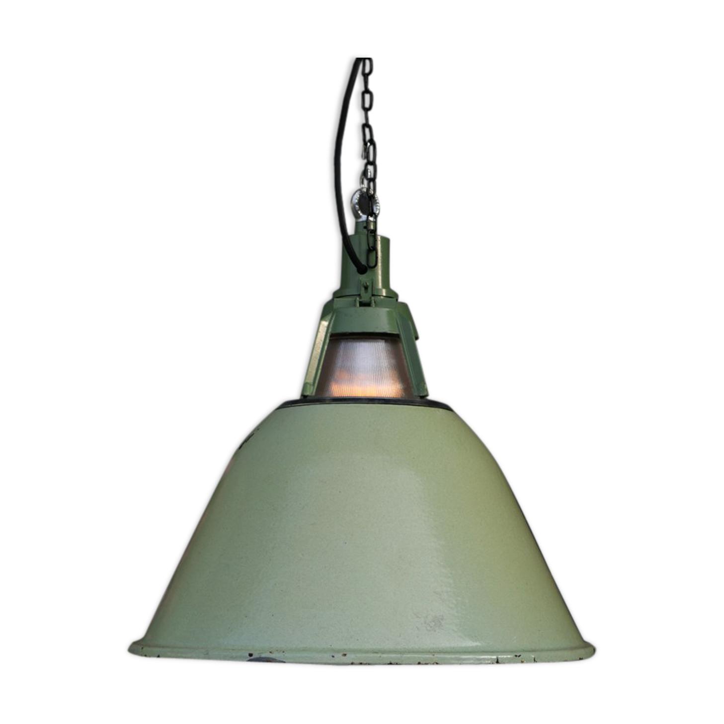 Suspension émaillée vert lampe holophane conique origine Union Sovietique