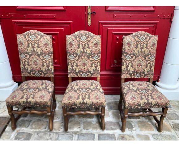 Lot de 6 chaises style Louis XIII à haut dossier