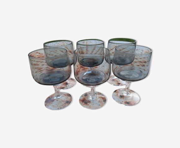 Set de 6 petits verres à pieds en verre fumé
