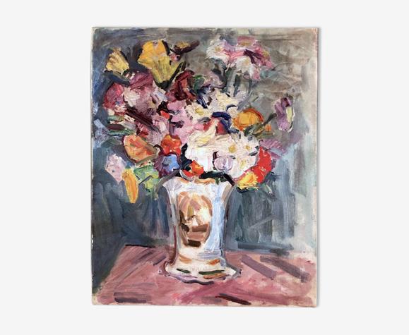 Tableau huile sur toile, nature morte, bouquet