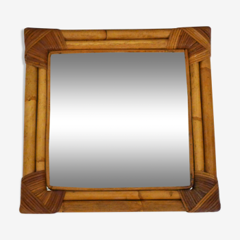 Miroir carré bambou