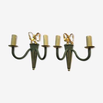 2 appliques flambeau style empire, 2 feux métal peint vert, noeud doré Louis XVl