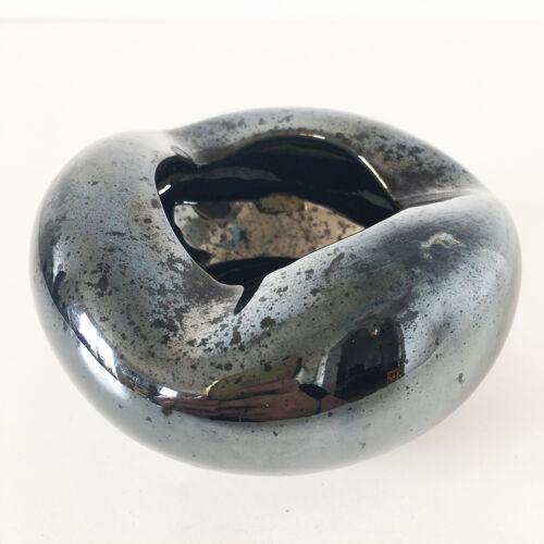 Cendrier céramique noire irisée
