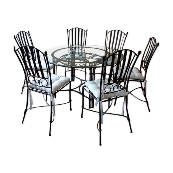 Table ronde et ses 6 chaises bronze et fer forgé