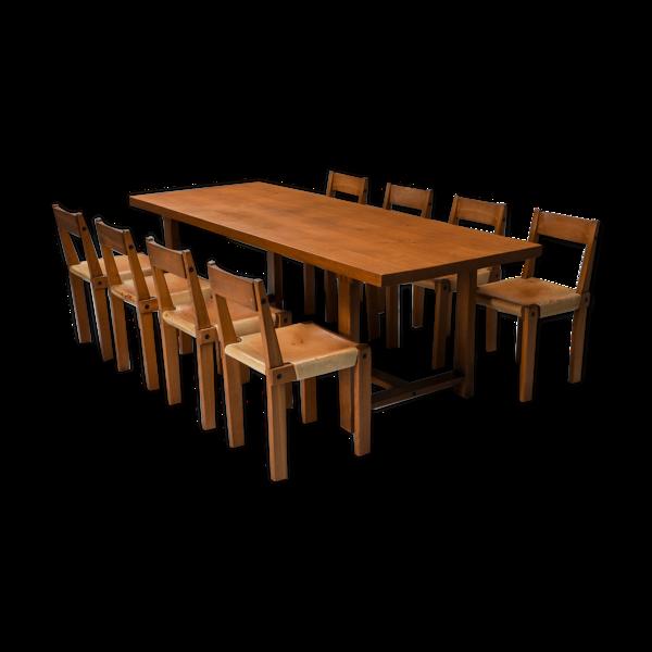 Selency Ensemble à manger Pierre Chapo avec table T01D et chaises S24 en orme massif