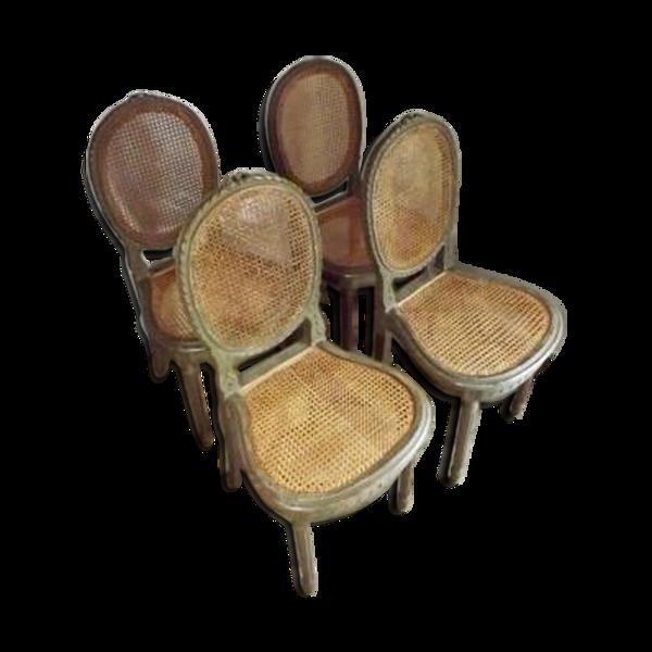 Selency Suite de 4 chaises laquées LXVI
