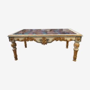 Table basse style baroque verre coloré