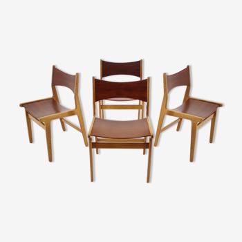 Ensemble de 4 chaises à manger en teck et en hêtre des années 1960, Danemark