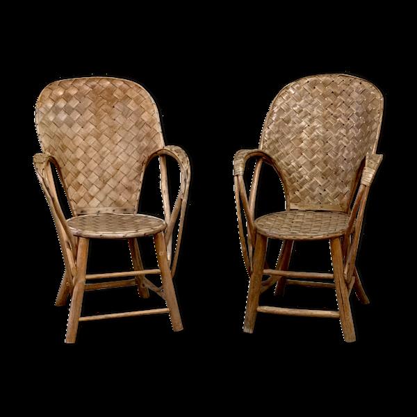 Paire de fauteuils en châtaignier