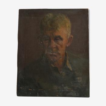 Tableau portrait huile sur toile vintage