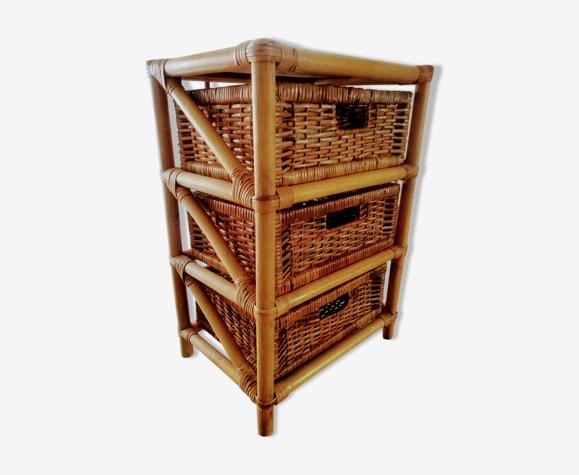 Étagère sur pied à tiroirs en rotin et bambou