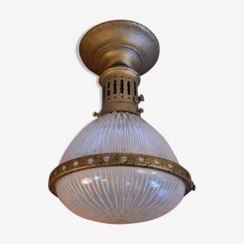 Ancienne suspension Holophane laiton et verre prismatique début de siècle
