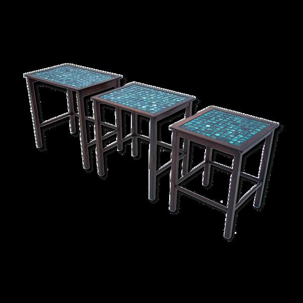 Ensemble de 3 tables d'appoint décoratives, Danemark, années 1960.