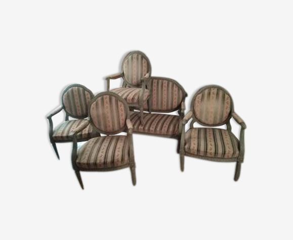 Salon Louis XVI 4 fauteuils et banquette