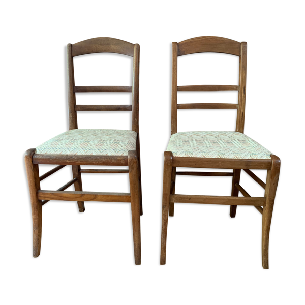Lot deux chaises tissées