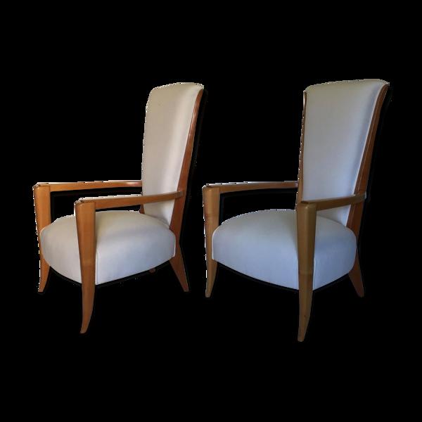 Selency Paire de fauteuils néoclassique art deco vers 1940 en sicomore