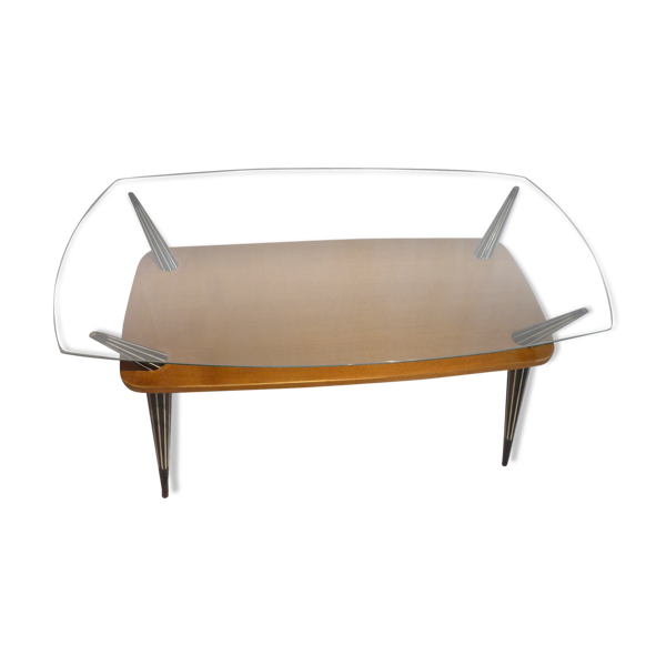 Selency Table basse 2 niveaux top verre