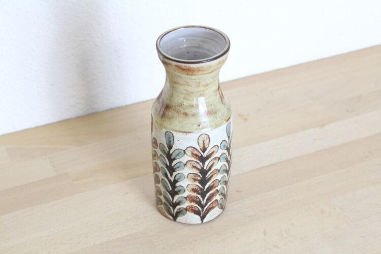 Vase en céramique de Malarmey à Vallauris, motifs feuilles