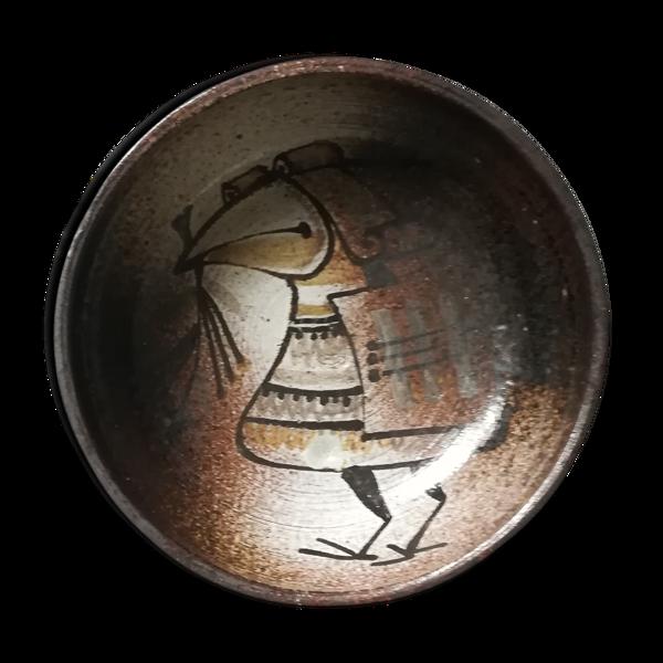 Coupe céramique à l'oiseau surréaliste Joël Baudoin monogrammée.