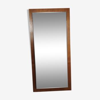 Miroir biseauté scandinave en teck années 60 37x77cm