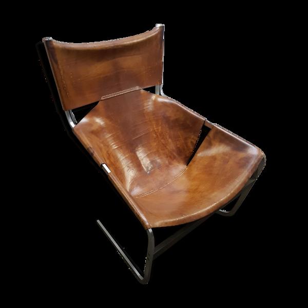 Fauteuil F444 en cuir vintage par Pierre Paulin