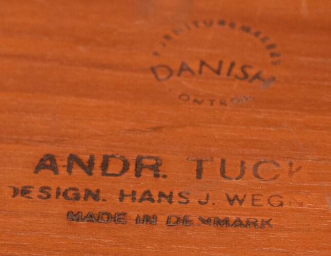 Table basse chromée Hans J Wegner teck restauré & palissandre  Andreas Tuck