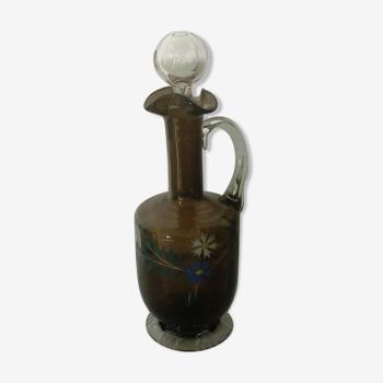 Carafe en verre émaillé fin 19eme