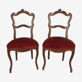 Paire de chaises de chambre de style rocaille