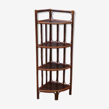 Four-tray wood and rattan corner shelf