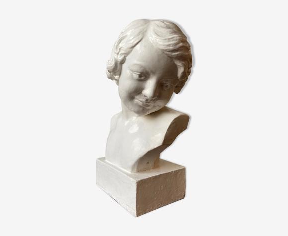 Buste en céramique émaillée