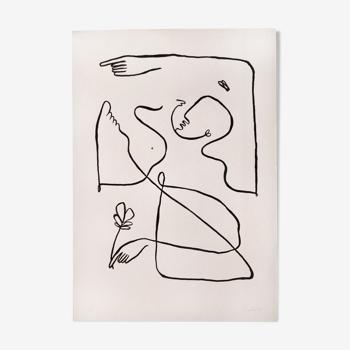 """Illustration à l'encre de Chine """"La femme au ruisseau"""" en édition limitée"""