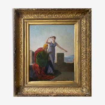 "Tableau ""Scène à l'antique"" cf. Anne-Louis GIRODET (1767-1824) + cadre"