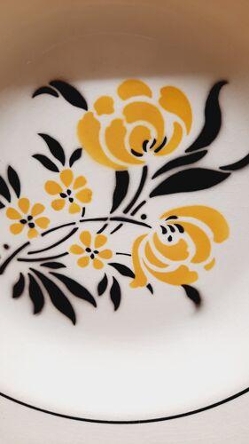 Set 6 assiettes creuses Noir et jaune